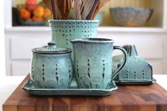 Hey, I found this really awesome Etsy listing at https://www.etsy.com/listing/192029086/rustic-sugar-and-creamer-set-in-aqua
