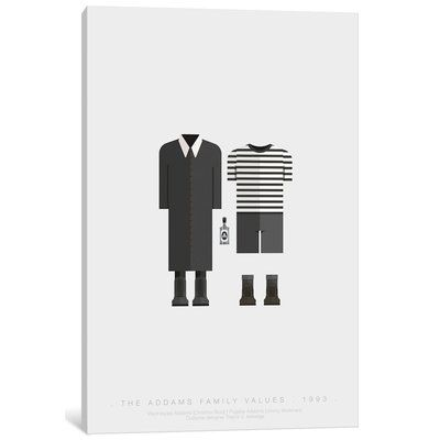 """East Urban Home 'Famous Hollywood Costumes Series: The Addams Family' Graphic Art Print on Canvas Size: 18"""" H x 12"""" W x 1.5"""" D"""