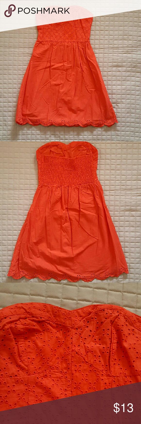 Strapless Coral Sundress Strapless sundress with eyelet detail and lined skirt. Perfect for summer! Dresses Strapless