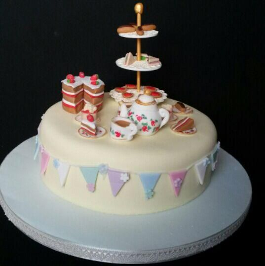 Image result for afternoon tea themed birthday cake