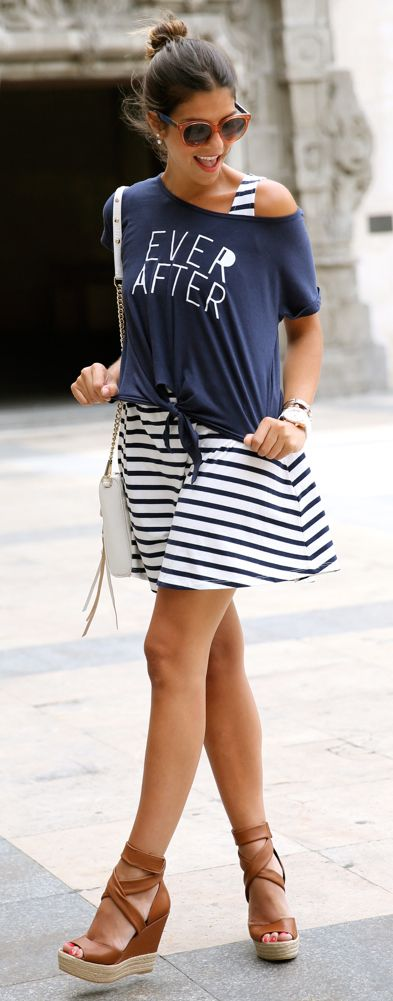 oversize tee + dress: Street Fashion, Summer Street Styles, Buylevard Navy, One Shoulder, Fashion Bloggers, Navy Women, Stripes Dresses, Prints Tshirt, Summer Trends