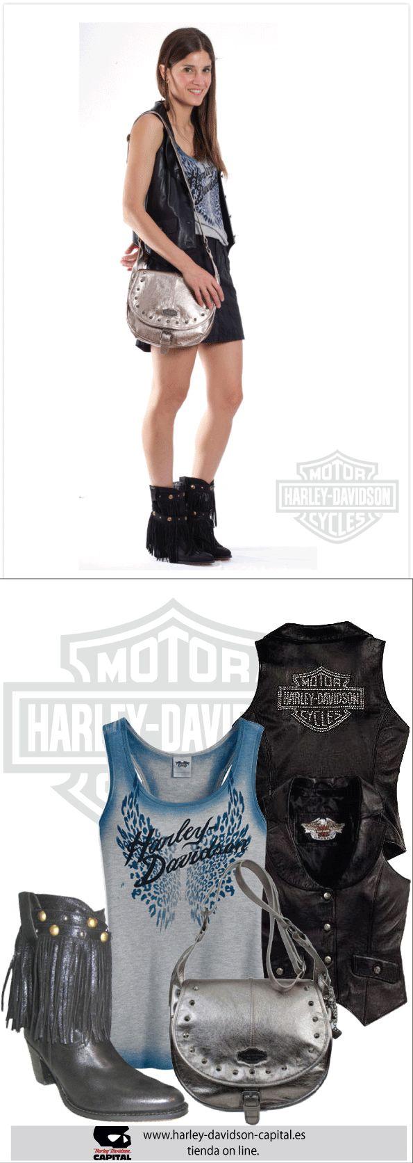 HARLEY-DAVIDSON STYLE | HARLEY-DAVIDSON OUTFIT | HARLEY-DAVIDSON LOOK |HARLEY-DAVIDSON FESTIVAL | camiseta harley-davidson, chaleco harley-davidsonn, bolso harley-davidson,| BOTAS SENDRA