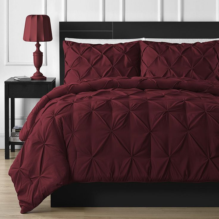 Comfy Bedding 3-piece Pinch Pleat Comforter Set (Full, Burgundy
