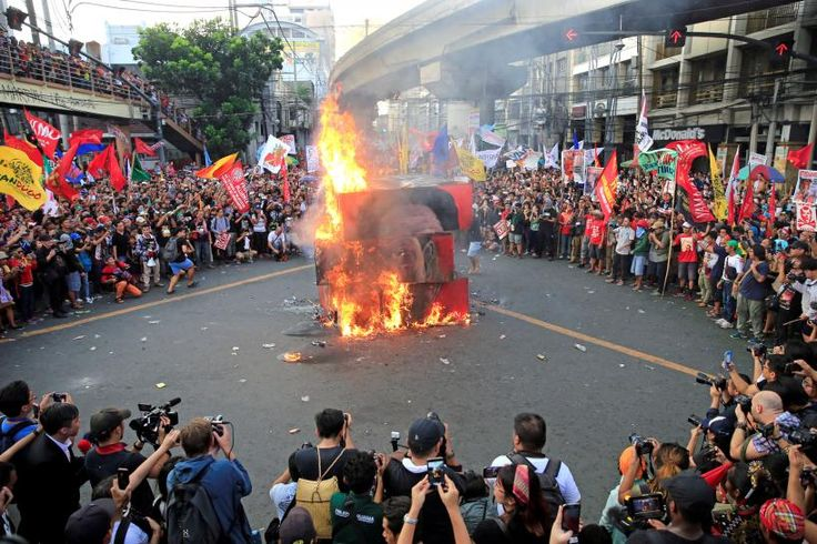 Thousands of Filipinos rallied on Thursday to denounce Philippines President Rodrigo Duterte and warn of what they called an emerging dictatorship, in a major show of dissent against the controversial but hugely popular leader.