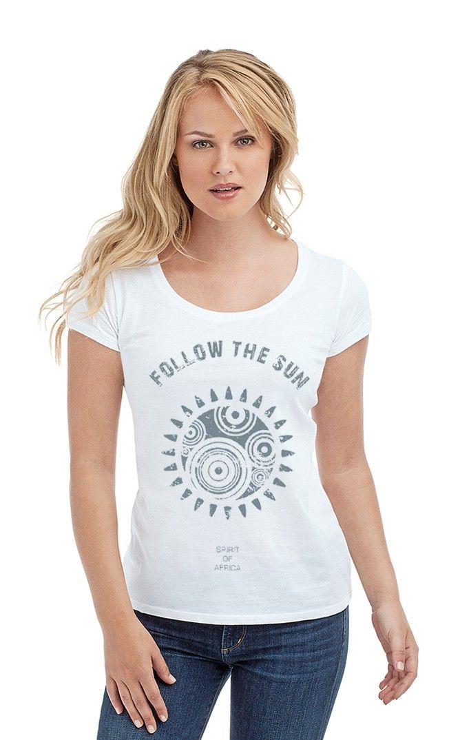Футболка Следуй за солнцем. Женские футболки прикольные с надписями и принтами.