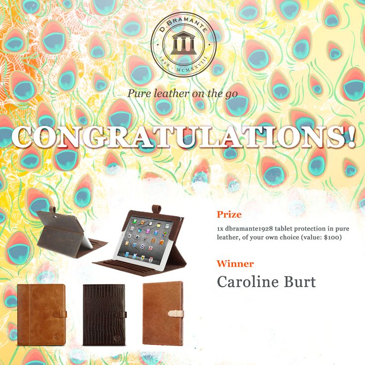 Congratulations to Caroline Burt! Caroline, please get in touch with us on info@dbramante1928.com so we can ship your prize to you. Thanks to everyone who participated as well - we've got more competitions up our sleeve, so stay tuned. :)
