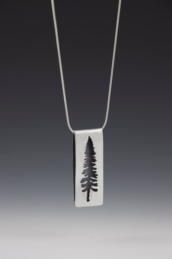 spruce pendant (brushed, sterling silver, tree necklace)
