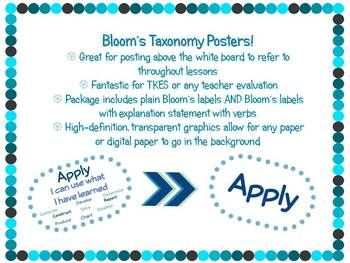 Bloom's Taxonomy Poster Package by DeLallo Creations | TpT