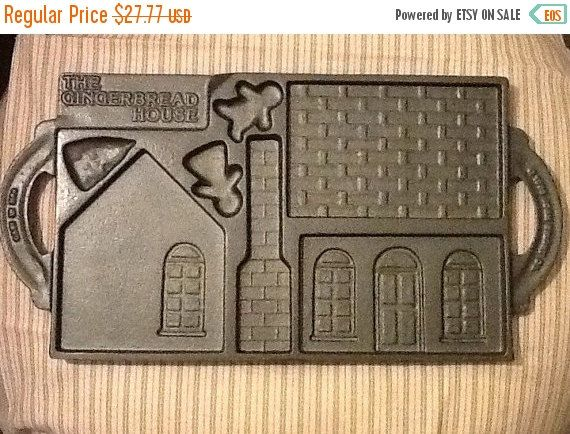 ON SALE Cast Iron Gingerbread house Bakeware cookie mold with original recipe pamphlet The Log Cabin The Victorian Christmas in July