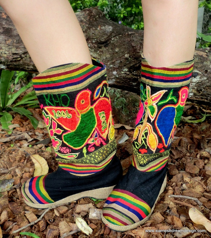 These are very cool and unusual...  Embroidered Mid Calf Vegan Boots In Colorful Laotian Repurposed Cotton