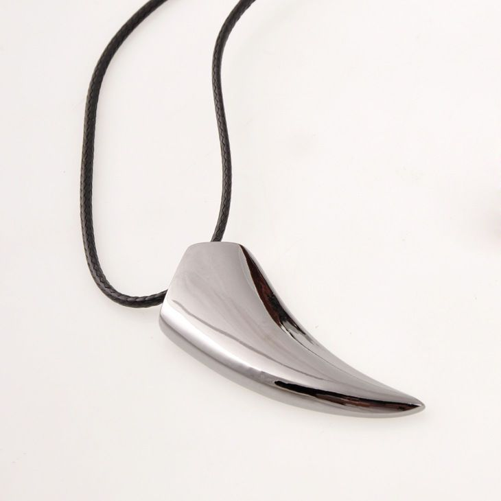 Wolf Tooth Necklace Leather Cord Polished Stainless Steel Fang Shark Men Unisex  #Handmade #Pendant