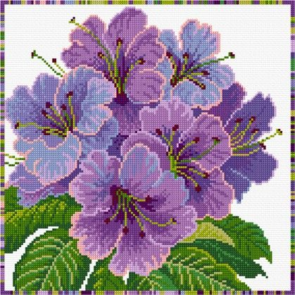 Mauve rhododendrons in cross stitch