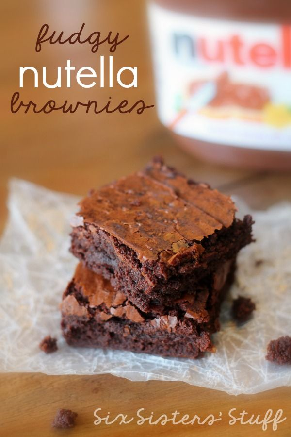 These Fudgy Nutella Brownies are perfect for your next party or gathering! | SixSistersStuff.com