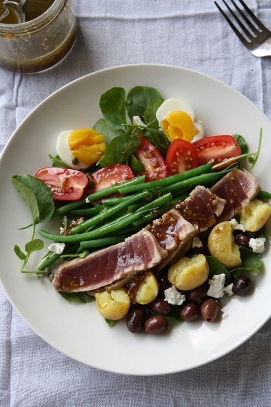 Fresh Tuna Nicoise Salad ~ This salad is inspired by the Nicoise, but with a face lift.  Here we will use fresh tuna, cooked green beans and potatoes, a dijon mustard vinaigrette, goat cheese, and avocado.