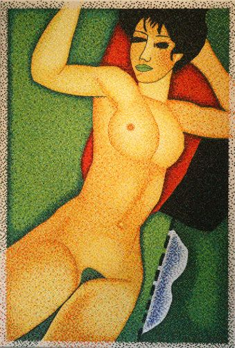"""#finearts, """"(slow-made) modigliani, green, 90° clockwise direction"""", 02. 2004, #pixelism - ca. 59.000 painted #pixels, acrylic on canvas, 84 x 125 cm, ■ = 4 x 4 mm, 33.07"""" x 49.21"""", ■ = 0.16"""" x 0.16""""."""