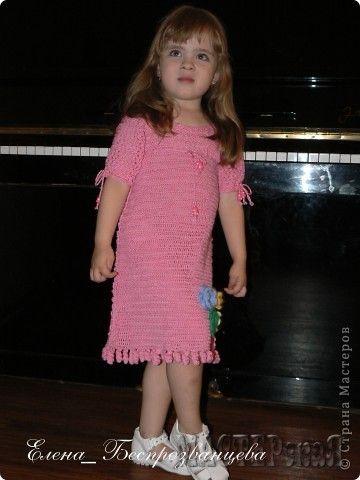 Розовое лето - платье крючком для дочки