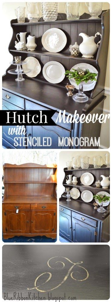 Blue Ribbon Kitchen: VINTAGE HUTCH; MONOGRAMMED MAKEOVER.  Painted monogram stencil.  Painted furniture idea