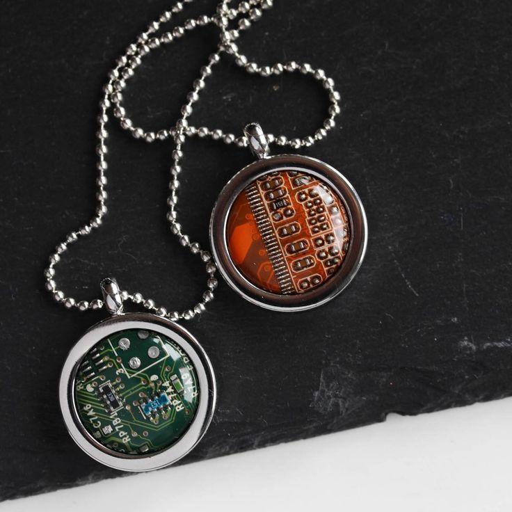 Circuit board necklace, computer geek necklace