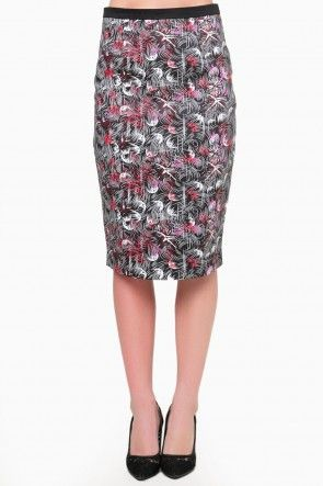 Robyn Printed Pencil Skirt in Multi Red