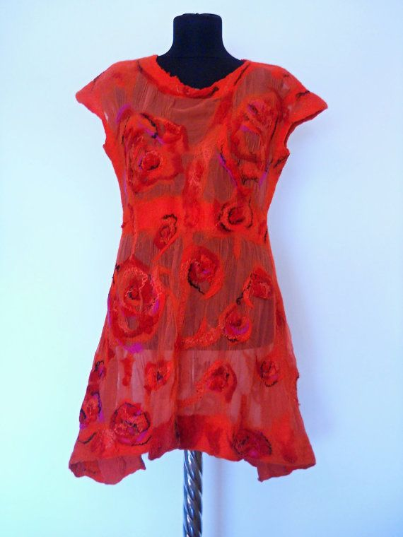 Red Dress  Silk Tunic  Unique dress  Red Summer by FeltNunoFelted
