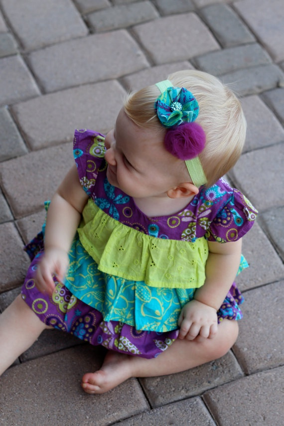 Teal & Magenta chiffon and tulle puff baby headband with lime elastic bandThe Dress