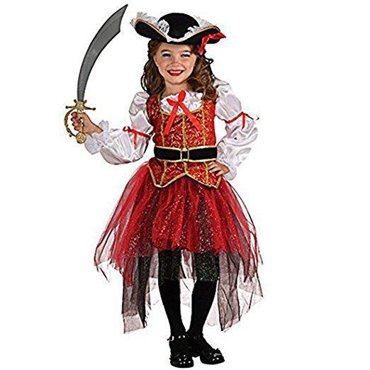 iEFiEL Halloween Kinder Kostüm Prinzessin Piratenkostüm für Mädchen Fasching Karneval Verkleidung (116-122)