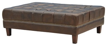 Abbott Ottoman-Saddle Cocoa - eclectic - ottomans and cubes - new york - Zin Home