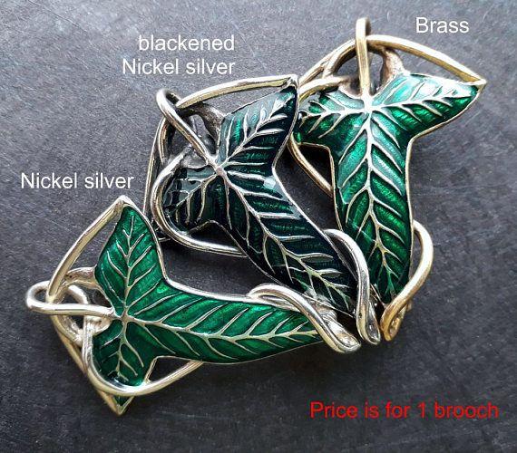 Elven Leaf Brooch Pin Green Hobbit LOTR Lord of The Rings Lorien Cape Enamel