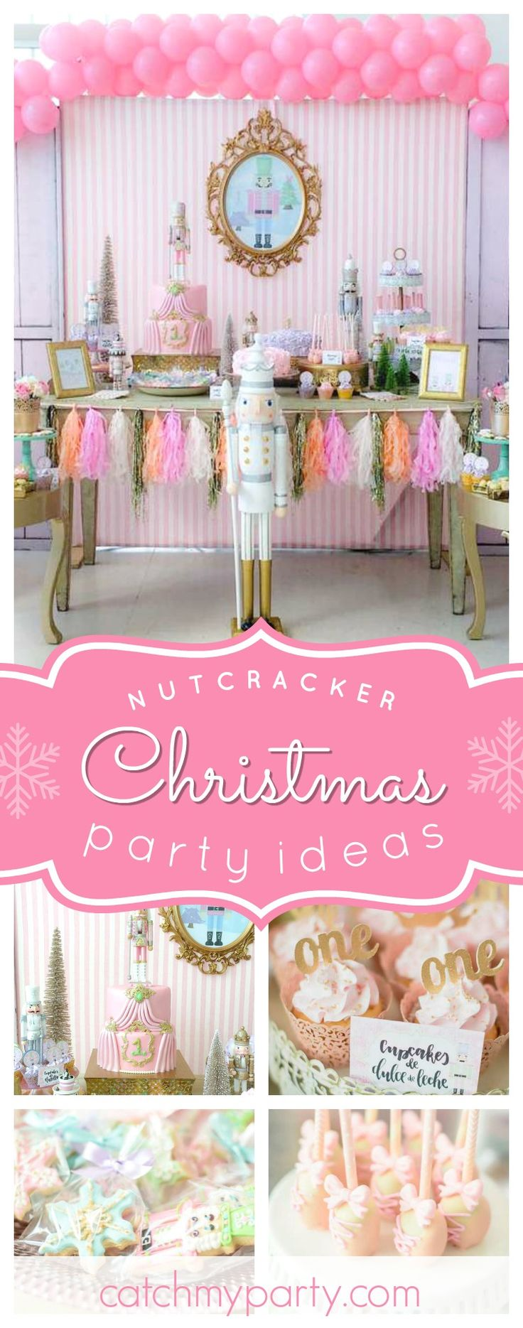 Don't miss this amazing Christmas Nutcracker themed 1st birthday party!! The birthday cake is gorgeous!! See more party ideas and share yours at CatchMyParty.com  #christmas #nutcracker #ballet #1stbirthday