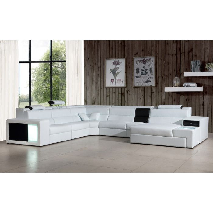 Polaris Italian Leather Sectional Sofa In White White Sectional