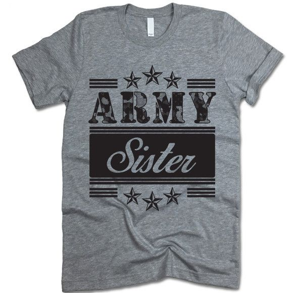 "The listing is for one short-sleeve UNISEX crewneck t-shirt with ""Army Sister"" design. Please refer to the size chart below (laying flat measurements in inches) if you want to measure it against one o"