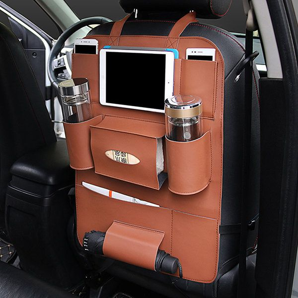 Pu Leather Car Seat Storage Bag 5 Colors Travel Solid Hang Bag