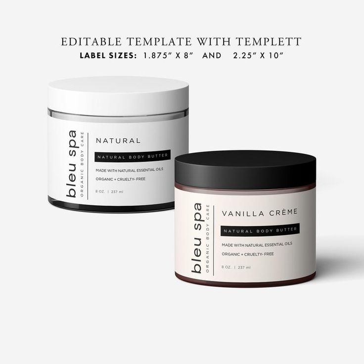 Body product wrap around diy label template with templett