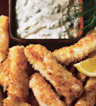Halibut Fish Sticks with Dill-Caper Tartar Sauce  A coating of egg and panko (rather than a heavy batter) makes these lighter than the average fish stick. Plus, they're sautéed rather than deep-fried.
