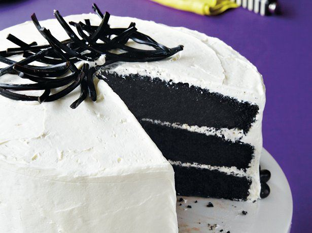 Enjoy this delicious black velvet cake with whipped frosting – a tasty dessert treat.