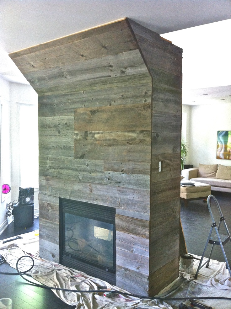 Barn Board Fireplace Wall Feature Home Pinterest To