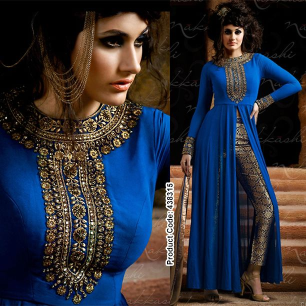 #RoyalBlue #Anarkali with stunning #FrontSlit teamed up with #metallic #Golden #pants.