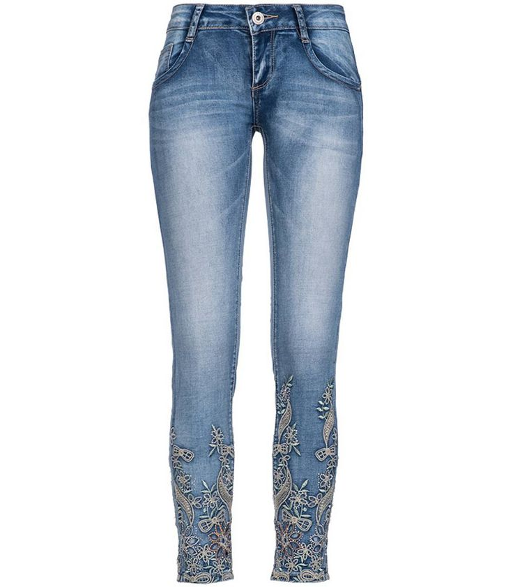 Madonna Damen Jeans Stretch Hose Crash mit Strass