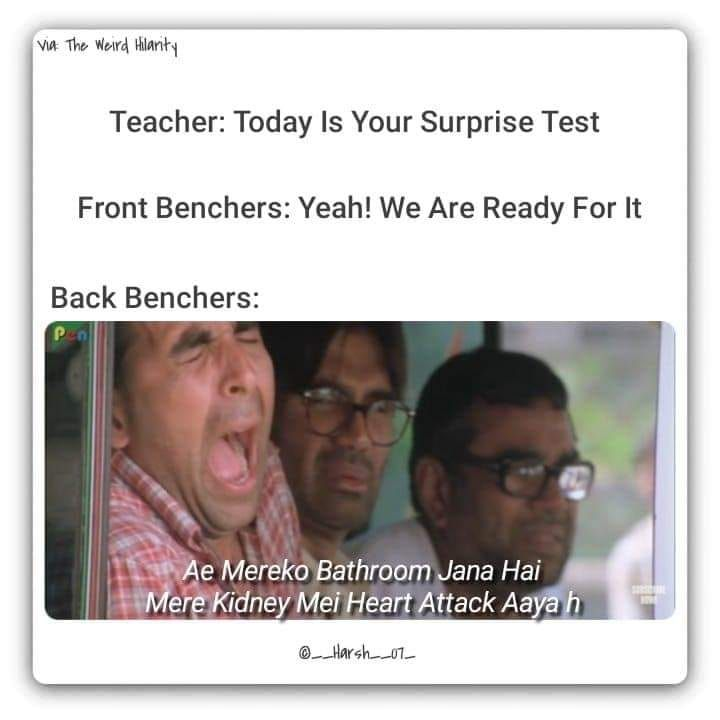 Funniest Backbenchers Memes Best Last Benches Meme To Laugh At Exams Funny Exams Memes Memes