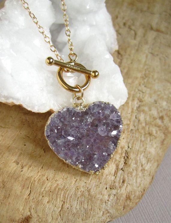 Amethyst Druzy Necklace Druzy Heart Drusy Quartz by julianneblumlo, $98.00