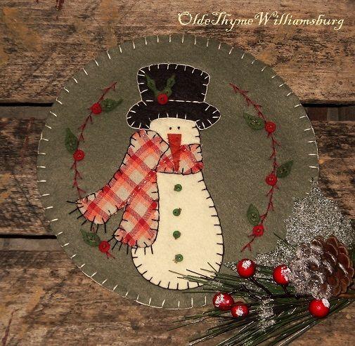 Primitive Christmas Bittersweet Snowman Wool Felt Penny Rug ~ Winter Candle Mat