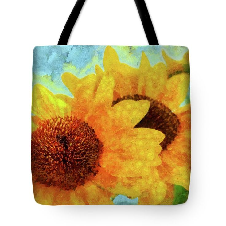 Sunflower Tote Bag featuring the painting Sunflowers by Grigorios Moraitis