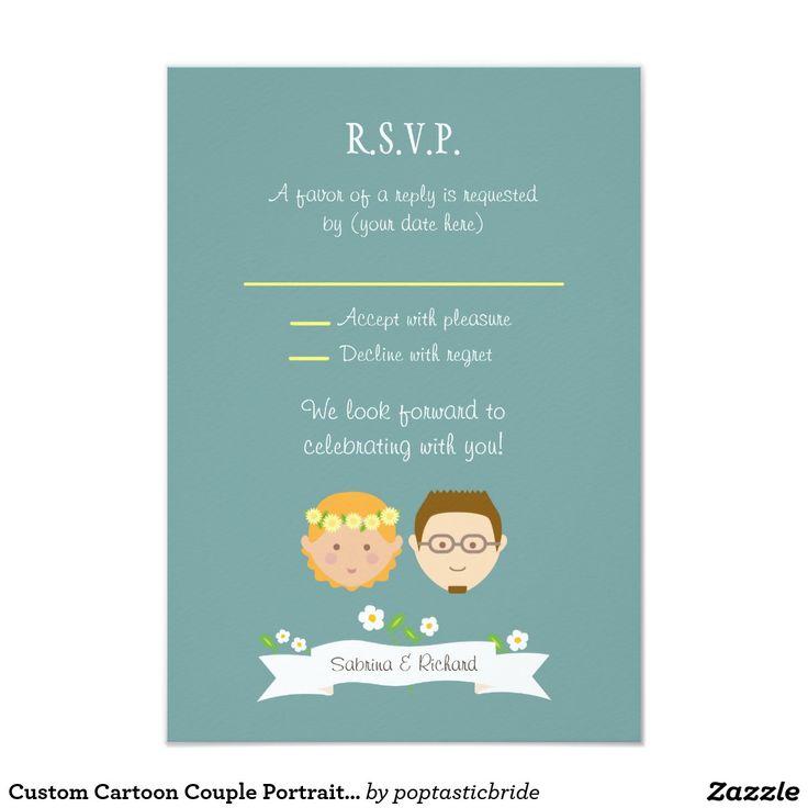 Kundenspezifisches Cartoon-Paar-Porträt-Hochzeit 8,9 X 12,7 Cm Einladungskarte