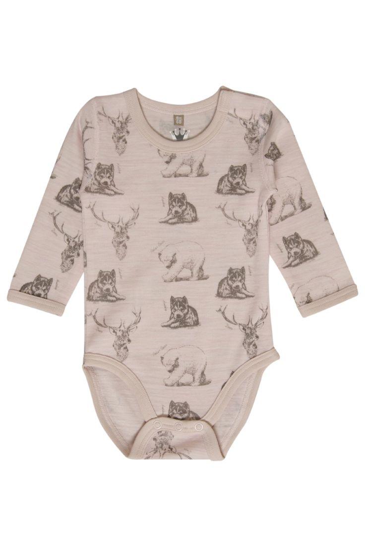 Hust & Claire barneklær - Body i ull med ville dyr