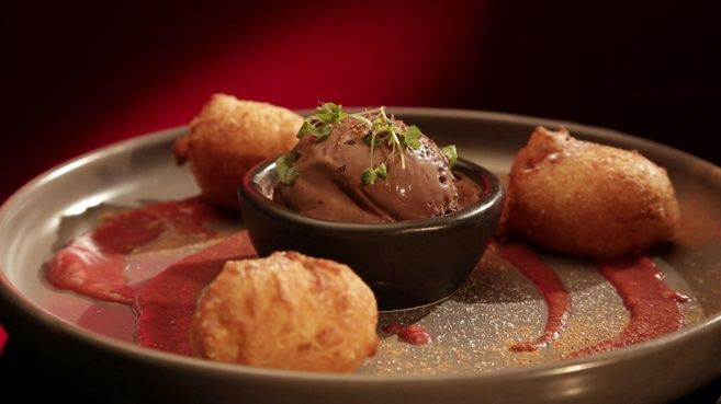 MKR Recipes - Doughnuts with Chilli Chocolate Ice Cream with Rhubarb  - Yahoo7