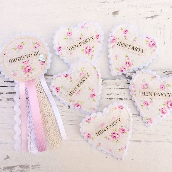 Hen Party Badge Set  Shabby Chic Vintage Hen by shopwillynilly