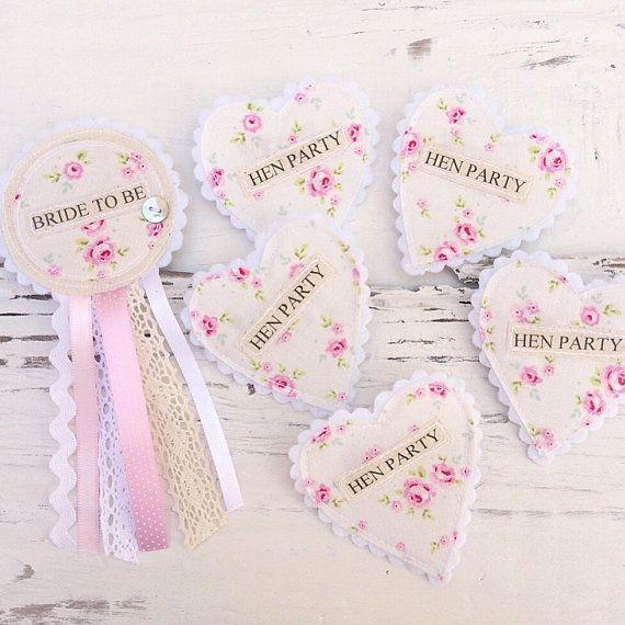 Hen Party Badge Set - Shabby Chic Vintage Hen Party - Floral Fabric Badges - Rosette Heart Set