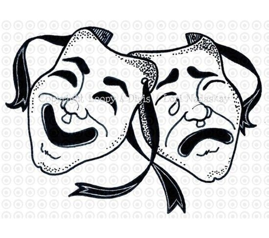 comedy tragedy  music clip art | ... COMEDY / TRAGEDY MASKS > Loopy 4 Digis Digital Stamps and Clip Art