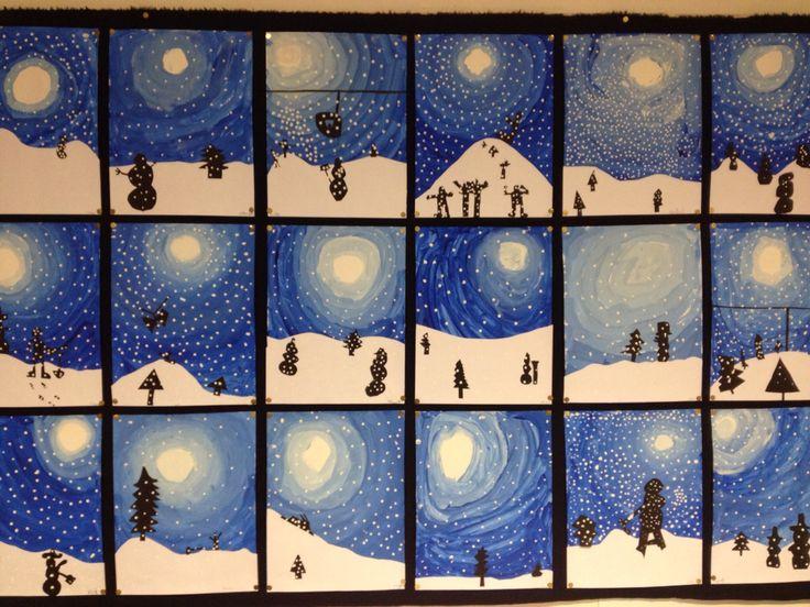 Groep 4 winterwonderland. In 3 lessen uitgevoerd. Les 1: achtergrond, start met een witte stip, meng steeds meer blauw bij de witte verf en schilder in cirkels. Les 2: knip en plak het pak sneeuw en de silhouetten. Les 3: stempel met witte verf en de achterkant van een satéprikker de sneeuw... Resultaat: trotse kids!