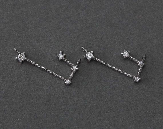 Aries Brass hanger. Sterrenbeeld, Zodiac hanger. De Gift van de verjaardag. Originele Rhodium Plated over Messing gepolijst / 1 PC